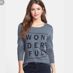 Halogen 'wonderful' gray long sleeve sweater